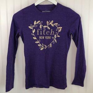 abercrombie kids Girls Long Sleeve Purple T Shirt